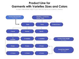 Product Line For Garments With Varieties Sizes And Colors