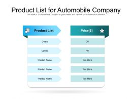 Product List For Automobile Company