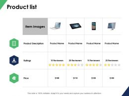 Product List Price Ppt Powerpoint Presentation File Sample