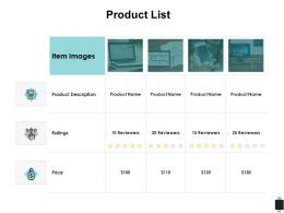 Product List Ratings Price Ppt Powerpoint Presentation Outline Model