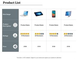 Product List Ratings Price Ppt Powerpoint Presentation Styles Layouts