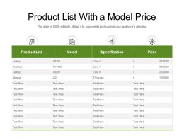 Product List With A Model Price