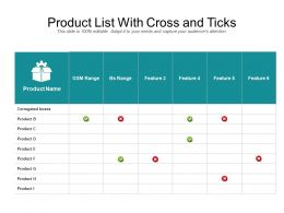Product List With Cross And Ticks