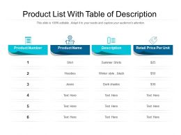 Product List With Table Of Description