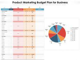 Product Marketing Budget Plan For Business