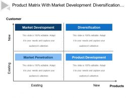 Product Matrix With Market Development Diversification Product Development