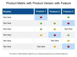 Product Matrix With Product Version With Feature