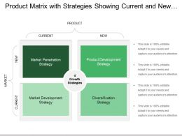 Product Matrix With Strategies Showing Current And New Markets