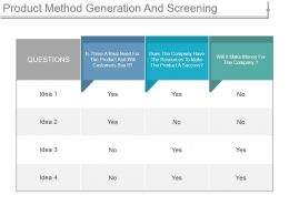 Product Method Generation And Screening Ppt Diagrams