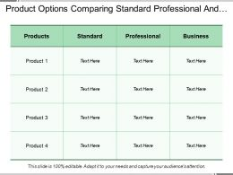 Product Options Comparing Standard Professional And Business