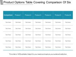 Product Options Table Covering Comparison Of Six Ppt Slide
