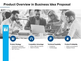 Product Overview In Business Idea Proposal Product Strategy Ppt Powerpoint Presentation Slide