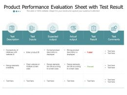 Product Performance Evaluation Sheet With Test Result