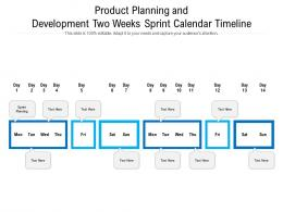 Product Planning And Development Two Weeks Sprint Calendar Timeline