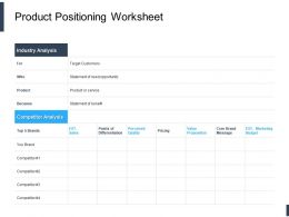 Product Positioning Worksheet Ppt Powerpoint Presentation Portfolio Guide