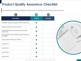 Product Quality Assurance Checklist Follow Ppt Powerpoint Presentation Rules