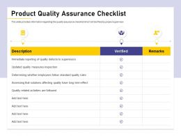 Product Quality Assurance Checklist To Defects Ppt Powerpoint Presentation File Ideas
