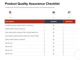 Product Quality Assurance Checklist Verified Ppt Infographics