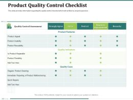 Product Quality Control Checklist Quality Cues Ppt Powerpoint Presentation Objects