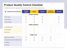 Product Quality Control Checklist Quick Repairs Ppt Powerpoint Presentation Model Infographics