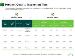 Product Quality Inspection Plan Ppt Presentation Inspiration File Formats