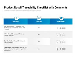 Product Recall Traceability Checklist With Comments