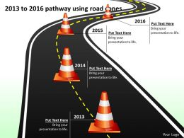 product roadmap timeline 2013 to 2016 pathway using road cones powerpoint templates slides