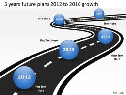 Product Roadmap Timeline 5 Years Future Plans 2012 to 2016 Growth Powerpoint Templates Slides