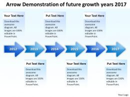Product Roadmap Timeline Arrow Demonstration Of Future Growth Years 2017 Powerpoint Templates Slides