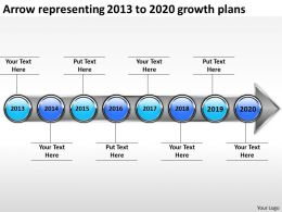 product roadmap timeline Arrow representing 2013 to 2020 growth plans powerpoint templates slides