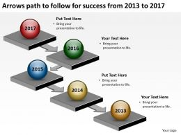 product roadmap timeline Arrows path to follow for success from 2013 to 2017 powerpoint templates slides