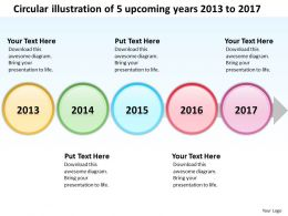 Product Roadmap Timeline Circular Illustration Of 5 Upcoming Years 2013 to 2017 Powerpoint Templates Slides