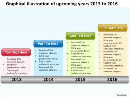 Product Roadmap Timeline Graphical Illustration Of Upcoming Years 2013 to 2016 Powerpoint Templates Slides