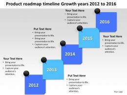 Product Roadmap Timeline Growth Years 2012 to 2016 Development Success Powerpoint Templates Slides