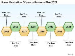 Product Roadmap Timeline Linear Illustration Of yearly Business Plan 2022 Powerpoint Templates Slides