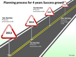 Product Roadmap Timeline Planning Process For 4 Years Success Growth Powerpoint Templates Slides