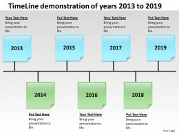 Product Roadmap Timeline TimeLine Demonstration Of Years 2013 to 2019 Powerpoint Templates Slides