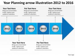 Product Roadmap Timeline Year Planning Arrow Illustration 2012 to 2016 Powerpoint Templates Slides