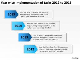 product roadmap timeline Year wise implementation of tasks 2012 to 2015 powerpoint templates slides
