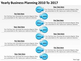 Product Roadmap Timeline Yearly Business Planning 2010 To 2017 Powerpoint Templates Slides