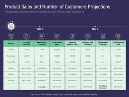 Product Sales And Number Of Customers Projections Ppt Powerpoint Presentation Styles Model