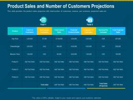 Product Sales And Number Of Customers Projections Sales Revenue Product Ppt Model Picture