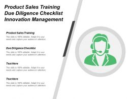Product Sales Training Due Diligence Checklist Innovation Management Cpb