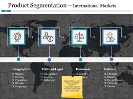 Product Segmentation International Markets Geographic Political Legal Economic Cultural