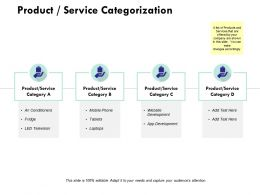 Product Service Categorization Ppt Powerpoint Presentation Infographic Template