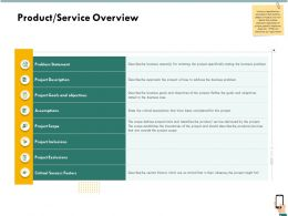 Product Service Overview Objectives Ppt Powerpoint Gallery Gridlines