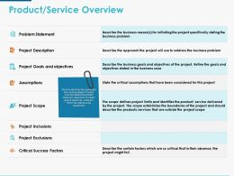Product Service Overview Ppt Powerpoint Presentation Icon Graphics Download