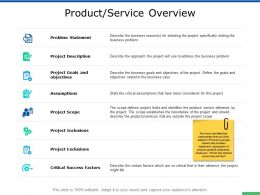 Product Service Overview Success Factors Ppt Powerpoint Presentation Slides