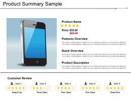Product Summary Sample