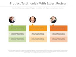 Product Testimonials With Expert Review Ppt Slides